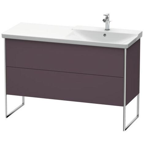 Duravit XSquare Vanity unit vertical, 121.0 x 47.3 cm, 2 drawers, for P3 Comforts 233412, bowl on right, Colour (front/body): Light blue silk matt lacquer - XS446909797