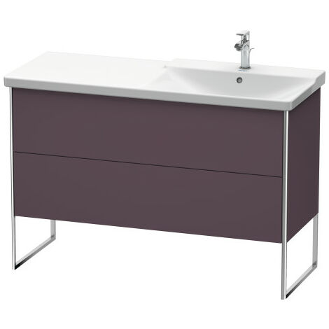 Duravit XSquare Vanity unit vertical, 121.0 x 47.3 cm, 2 drawers, for P3 Comforts 233412, bowl on right, Colour (front/body): White silk matt lacquer - XS446903636