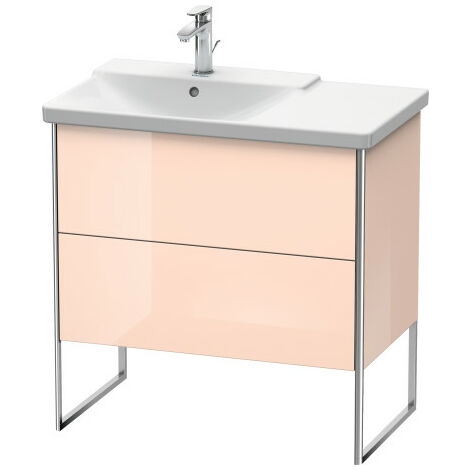 Duravit XSquare Vanity unit vertical, 81.0 x 47.3 cm, 2 drawers, for P3 Comforts 233385, bowl left, Colour (front/body): Cappuccino high gloss lacquer - XS446408686