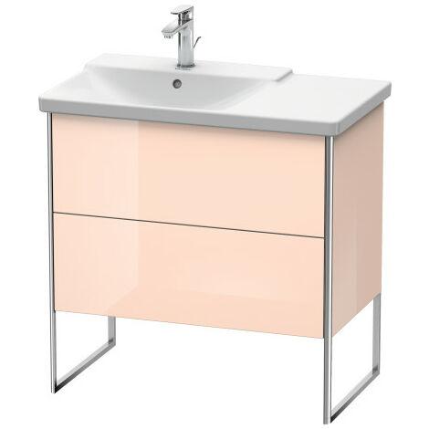 Duravit XSquare Vanity unit vertical, 81.0 x 47.3 cm, 2 drawers, for P3 Comforts 233385, bowl left, Colour (front/body): Flannel Grey silk matt lacquer - XS446409090