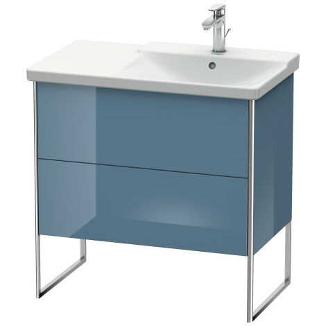 Duravit XSquare Vanity unit vertical, 81.0 x 47.3 cm, 2 drawers, for P3 Comforts 233485, bowl on right, Colour (front/body): Black high gloss lacquer - XS446704040
