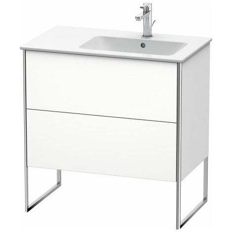 Duravit XSquare Vanity unit vertical 81.0 x 47.8 cm, 2 drawers, for wash basin ME by Starck 234683, bowl right, Colour (front/body): White silk matt lacquer - XS445203636