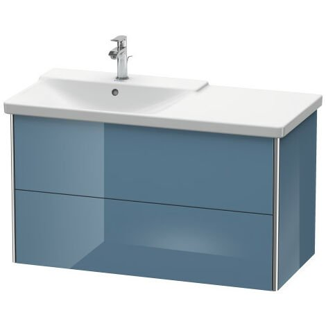 Duravit XSquare Vanity unit wall-hung, 101.0 x 47.3 cm, 2 drawers, for P3 Comforts 233310, bowl left, Colour (front/body): Jade high gloss lacquer - XS418500303