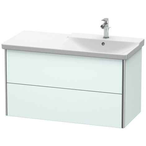 Duravit XSquare Vanity unit wall-hung, 101.0 x 47.3 cm, 2 drawers, top drawer for P3 Comforts 233410, bowl right, Colour (front/body): Taupe silk matt lacquer - XS418806060