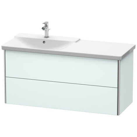Duravit XSquare Vanity unit wall-hung, 121.0 x 47.3 cm, 2 drawers, for P3 Comforts 233312, bowl left, Colour (front/body): Stone Blue high gloss lacquer - XS418604747