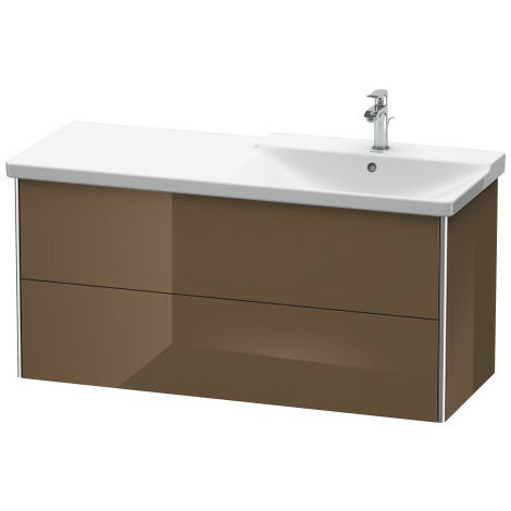 Duravit XSquare Vanity unit wall-hung, 121.0 x 47.3 cm, 2 drawers, top drawer for P3 Comforts 233412, bowl right, Colour (front/body): Black high gloss lacquer - XS418904040