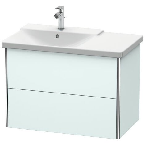 Duravit XSquare Vanity unit wall-hung, 81.0 x 47.3 cm, 2 drawers, for P3 Comforts 233385, bowl left, Colour (front/body): Night blue silk matt lacquer - XS418409898