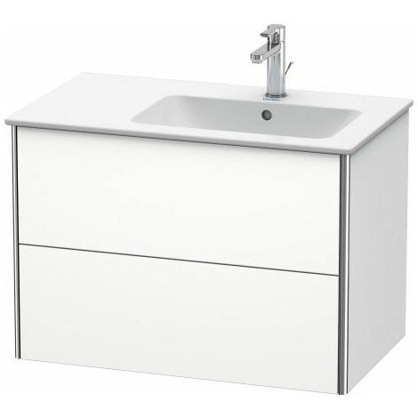 Duravit XSquare Vanity unit wall-hung 81.0 x 47.8 cm, 2 drawers, for wash basin ME by Starck 234683, bowl right, Colour (front/body): White silk matt lacquer - XS417703636