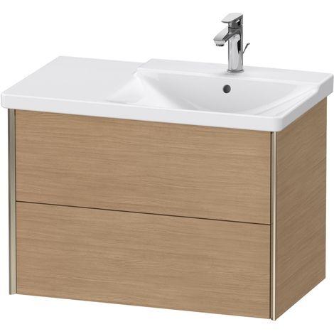 Duravit XViu 4137 Meuble sous-lavabo suspendu, 2 tiroirs, pour meuble sous-lavabo P3 Comforts 233485 Vasque droite, 810x469, Couleur (avant/corps): champagne mat/chêne européen - XV41370B152