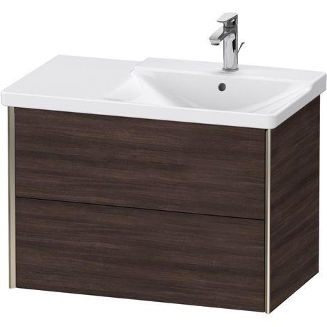Duravit XViu 4137 Meuble sous-lavabo suspendu, 2 tiroirs, pour meuble sous-lavabo P3 Comforts 233485 Vasque droite, 810x469, Couleur (avant/corps): champagne mat/noir marron foncé - XV41370B153