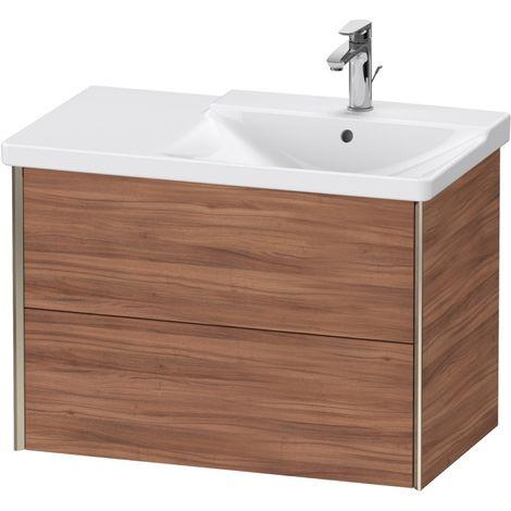Duravit XViu 4137 Meuble sous-lavabo suspendu, 2 tiroirs, pour meuble sous-lavabo P3 Comforts 233485 Vasque droite, 810x469, Couleur (avant/corps): champagne mat/noix de Grenoble naturel - XV41370B179