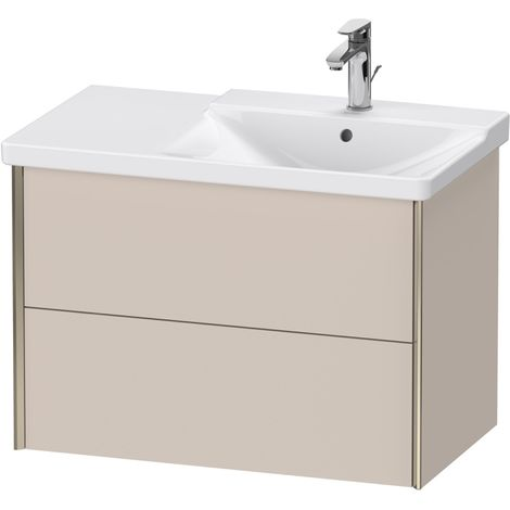 Duravit XViu 4137 Meuble sous-lavabo suspendu, 2 tiroirs, pour meuble sous-lavabo P3 Comforts 233485 Vasque droite, 810x469, Couleur (avant/corps): champagne mat/taupe - XV41370B191