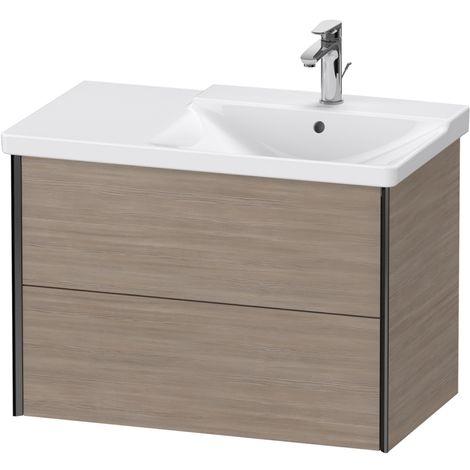 Duravit XViu 4137 Meuble sous-lavabo suspendu, 2 tiroirs, pour meuble sous-lavabo P3 Comforts 233485 Vasque droite, 810x469, Couleur (avant/corps): noir argent mat/pin argenté - XV41370B231