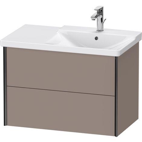 Duravit XViu 4137 Meuble sous-lavabo suspendu, 2 tiroirs, pour meuble sous-lavabo P3 Comforts 233485 Vasque droite, 810x469, Couleur (avant/corps): noir mat/basalte mat - XV41370B243