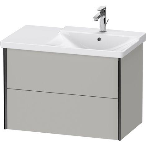 Duravit XViu 4137 Meuble sous-lavabo suspendu, 2 tiroirs, pour meuble sous-lavabo P3 Comforts 233485 Vasque droite, 810x469, Couleur (avant/corps): noir mat / béton gris mat gris mat - XV41370B207