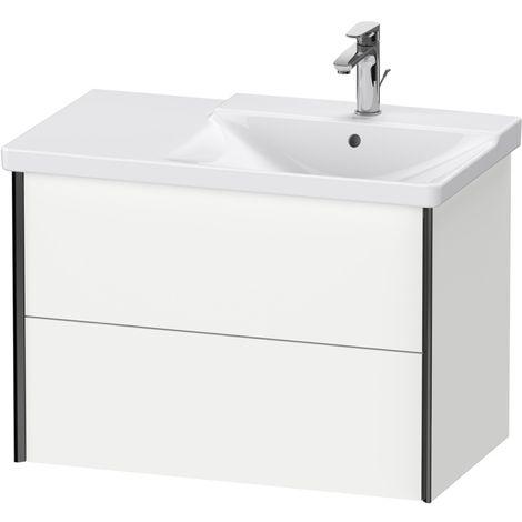 Duravit XViu 4137 Meuble sous-lavabo suspendu, 2 tiroirs, pour meuble sous-lavabo P3 Comforts 233485 Vasque droite, 810x469, Couleur (avant/corps): noir mat/blanc mat/blanc mat - XV41370B218