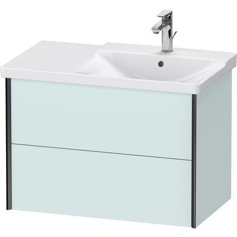 Duravit XViu 4137 Meuble sous-lavabo suspendu, 2 tiroirs, pour meuble sous-lavabo P3 Comforts 233485 Vasque droite, 810x469, Couleur (avant/corps): noir mat / bleu clair mat - XV41370B209