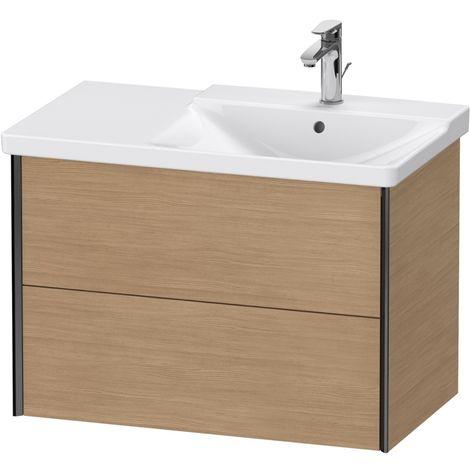 Duravit XViu 4137 Meuble sous-lavabo suspendu, 2 tiroirs, pour meuble sous-lavabo P3 Comforts 233485 Vasque droite, 810x469, Couleur (avant/corps): noir mat/chêne européen - XV41370B252