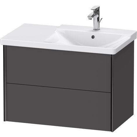 Duravit XViu 4137 Meuble sous-lavabo suspendu, 2 tiroirs, pour meuble sous-lavabo P3 Comforts 233485 Vasque droite, 810x469, Couleur (avant/corps): noir mat/graphite matt - XV41370B249