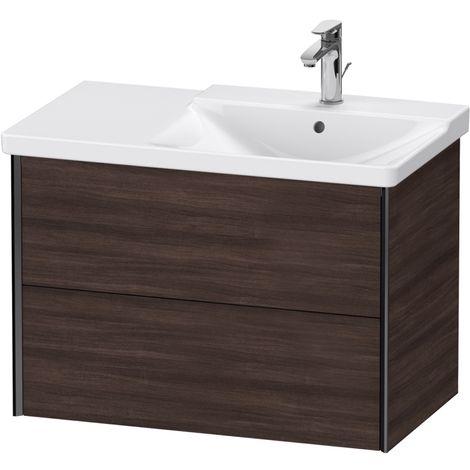 Duravit XViu 4137 Meuble sous-lavabo suspendu, 2 tiroirs, pour meuble sous-lavabo P3 Comforts 233485 Vasque droite, 810x469, Couleur (avant/corps): noir mat/noir marron foncé - XV41370B253