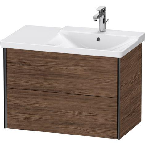 Duravit XViu 4137 Meuble sous-lavabo suspendu, 2 tiroirs, pour meuble sous-lavabo P3 Comforts 233485 Vasque droite, 810x469, Couleur (avant/corps): noir mat/noyer foncé - XV41370B221