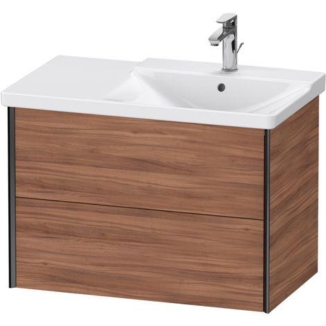 Duravit XViu 4137 Meuble sous-lavabo suspendu, 2 tiroirs, pour meuble sous-lavabo P3 Comforts 233485 Vasque droite, 810x469, Couleur (avant/corps): noir mat/noyer naturel - XV41370B279