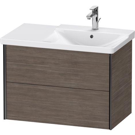 Duravit XViu 4137 Meuble sous-lavabo suspendu, 2 tiroirs, pour meuble sous-lavabo P3 Comforts 233485 Vasque droite, 810x469, Couleur (avant/corps): noir mat / pin terra - XV41370B251