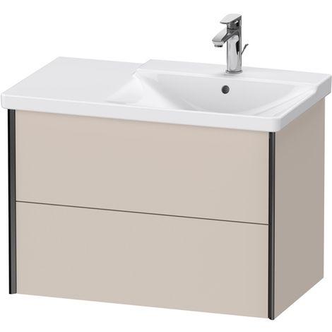 Duravit XViu 4137 Meuble sous-lavabo suspendu, 2 tiroirs, pour meuble sous-lavabo P3 Comforts 233485 Vasque droite, 810x469, Couleur (avant/corps): noir mat/taupe - XV41370B291