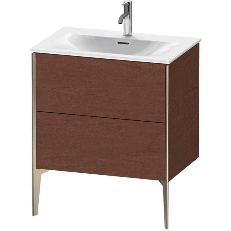Duravit XViu 4301 Mueble tocador vertical, 2 cajones, para lavabo Viu 234473, 710x480 mm, Color frente/cuerpo: champán mate/nogal americano