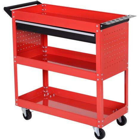 DURHAND 3-tier Tool Trolley Cart Roller Cabinet Storage Box Lockable Casters - Red