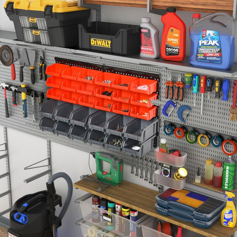 Image of DURHAND 30 Compartment Wall Storage Organisation Small Parts Rack Tools