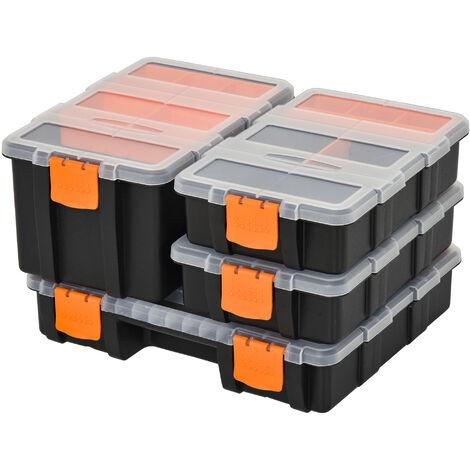 DURHAND® 4PCS Werkzeugaufbewahrung Box Multifunktional Kleinteilemagazin Teile Kunststoff - orange/schwarz