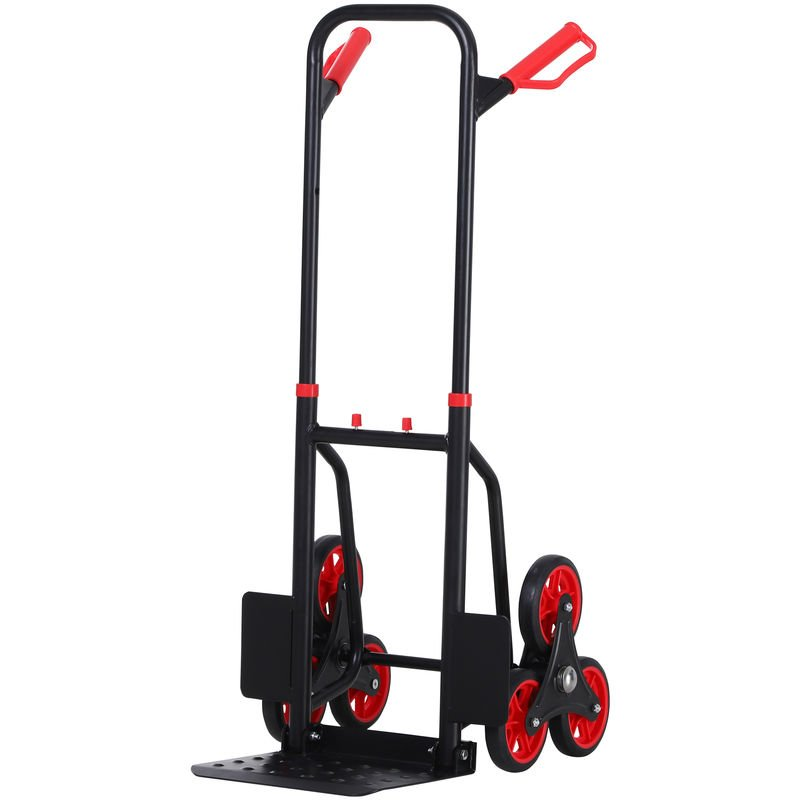 Image of DURHAND 6 Wheel Folding Trolley Load Cart Steel Frame w/ Handles 150kg Max Weight