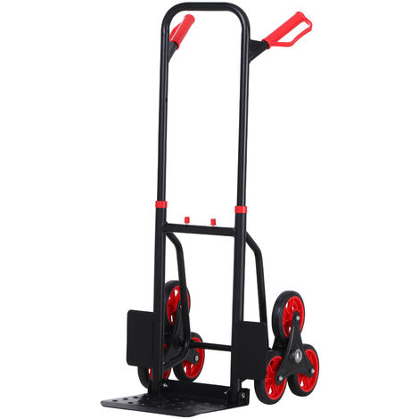 DURHAND 6 Wheel Folding Trolley Load Cart Steel Frame w/ Handles 150kg Max Weight