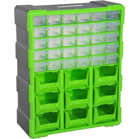 DURHAND Armario Organizador de Herramientas 39 cajones tipo Estantería DIY Caja Cajonera de Herramientas 38x16x47.5cm PP
