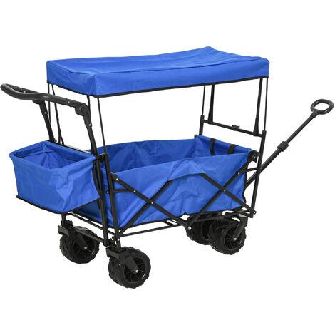 DURHAND® Bollerwagen Handwagen Gartenwagen mit Dach Faltbar extra Staubox Oxford Blau - blau