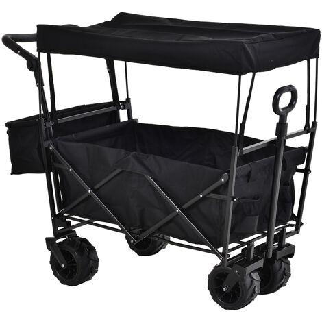 DURHAND® Bollerwagen Handwagen Gartenwagen mit Dach Faltbar extra Staubox Oxford Schwarz - schwarz