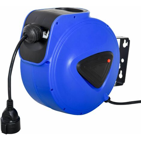DURHAND Carrete de Cable Automática Retráctil de 20m con 3 Enchufes Protección Térmica - Azul