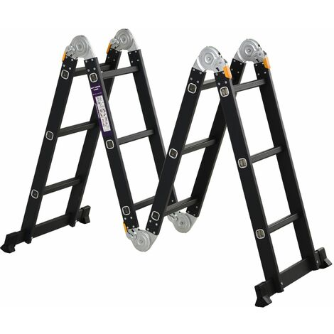 DURHAND Escalera Multiusos Plegable 5 en 1 Portátil con 2 Placas Aluminio 70x61x11 cm Negro - Negro
