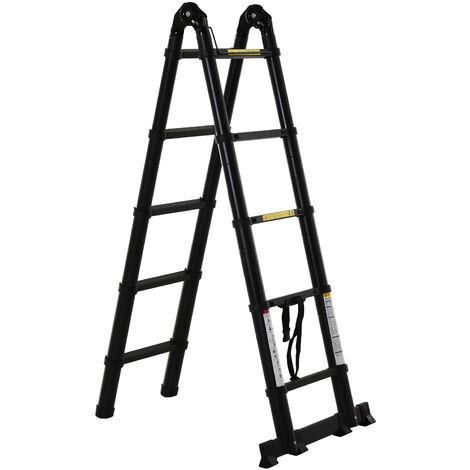 DURHAND Escalera Telescópica Plagable Multiuso Marco en A 150 kg Aluminio 320x67x7 cm Negro