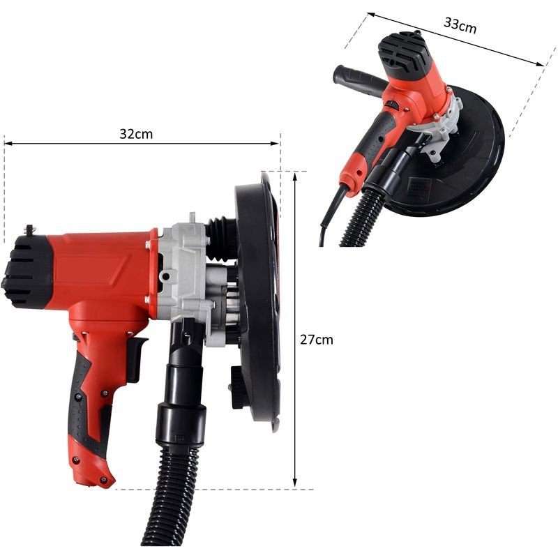Hand Held Dry Wall Sander 225Mm 230V With Dust Collection System 1200W