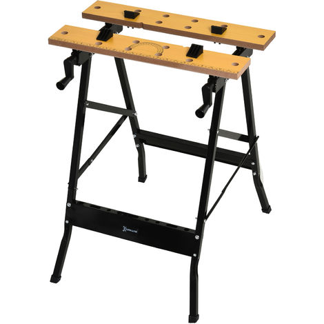 DURHAND Home DIY Work Bench Folding Clamping Wood Cutting Sawhorse w/ Moving Pegs