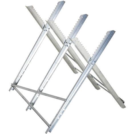 DURHAND® Kettensägebock Sägebock zusammenklappbar Sägegestell für Brennholz Silber Metall