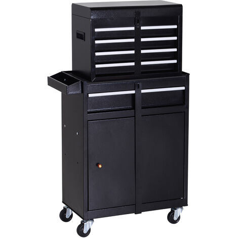 DURHAND Metal Tool Chest Cabinet Garage Mechanics Storage w/ 4 Drawers Black