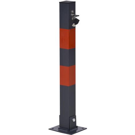DURHAND® Parkplatzsperre Klappbare Parkpfosten mit Roten Warnstreifen 3 Schlüssel Stahl