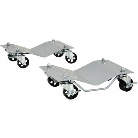 DURHAND® Rangierheber 2 Stücke Rangierhilfe Reifenwechsel mit 4 Rollen für Auto PKW Grau