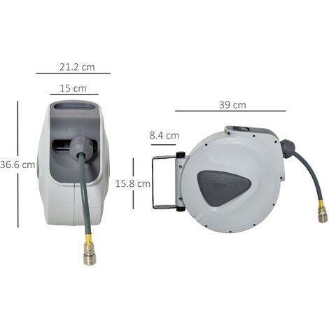 DURHAND Retractable Air Hose Reel Wall Mount Auto Rewind Extension 15m