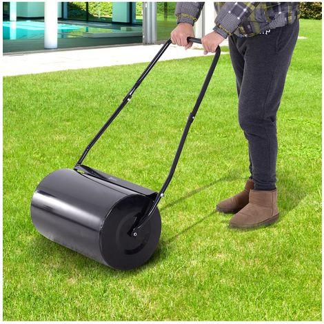 Durhand® rodillo de césped de jardín acero 38l llena de agua o arena medida de rodillo φ50x32cm asa desmontable