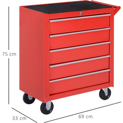 Durhand Roller Tool Cabinet Storage Box 5 Drawers Caster Workshop Chest - Red