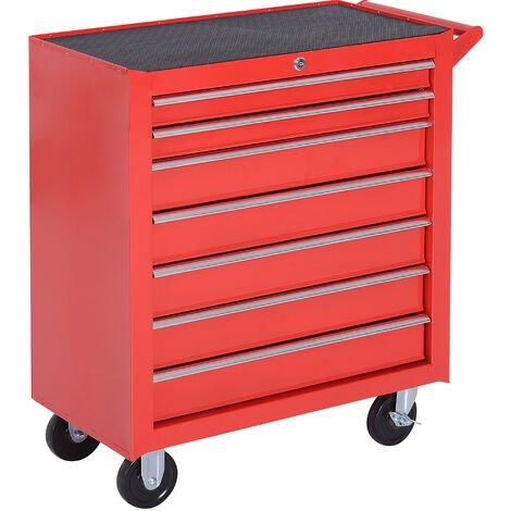 Durhand Roller Tool Cabinet Storage Box 7 Drawers Caster Workshop Chest - Red
